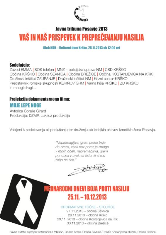 Javna tribuna Vaš in naš prispevek k preprečevanju nasilja